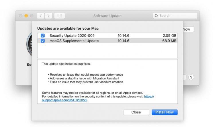 Apple phát hành bản cập nhật bổ sung cho macOS Mojave 10.14.6