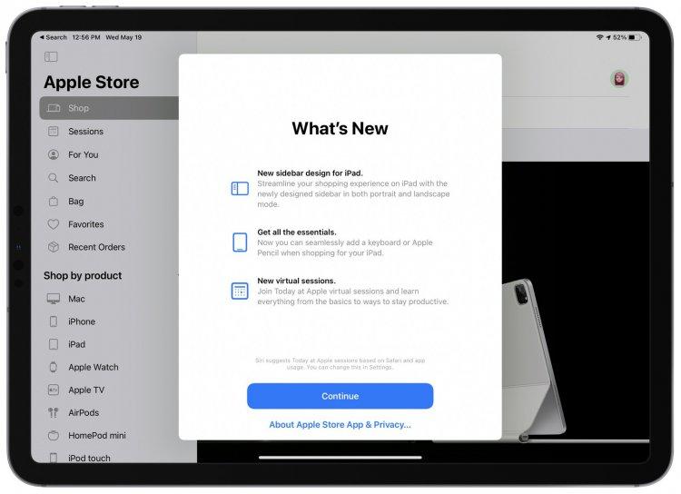 Ứng dụng Apple Store trên iPad có thiết kế mới